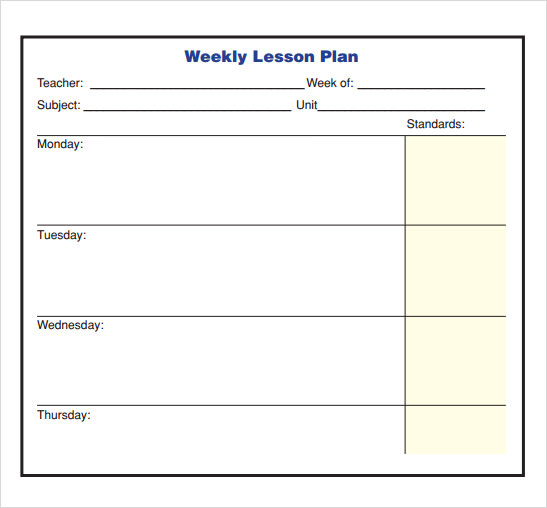 Weekly Lesson Plan Template Doc Printable Schedule Template