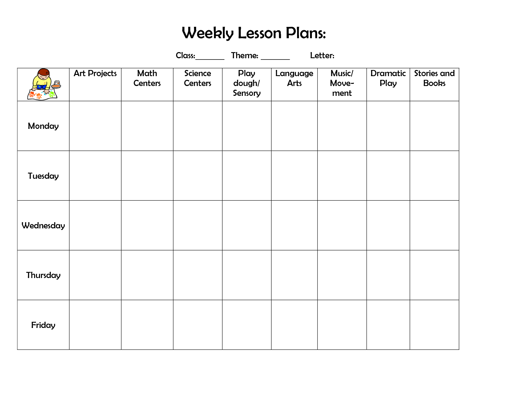 Weekly Lesson Plan Template Doc Flair Photo