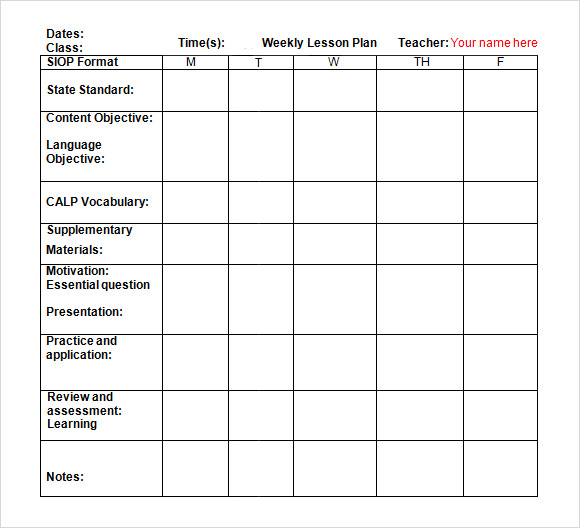 Sample Weekly Lesson Plan 8+ Documents In Word, Excel, PDF