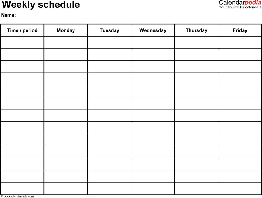 Weekly Schedule Template. Clinical Weekly Activitu Schedule