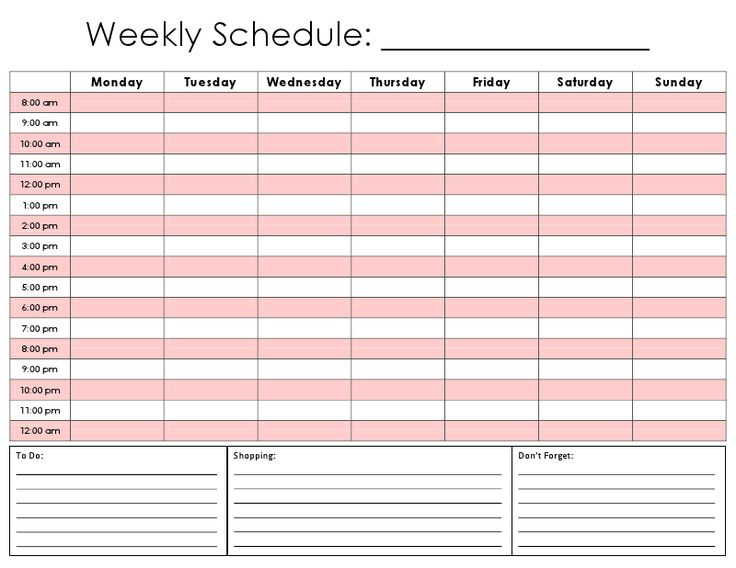 Weekly schedule template in excel