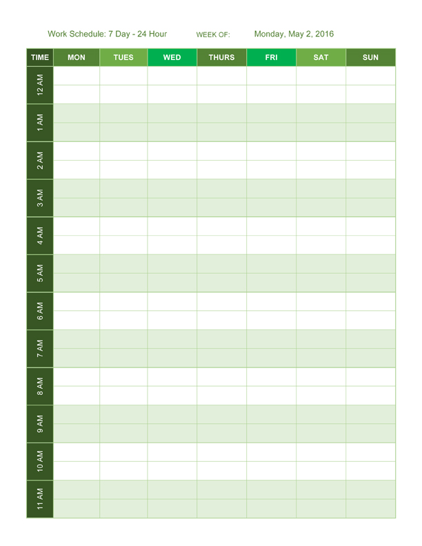 Hourly Schedule Template Word, Excel, PDF Format