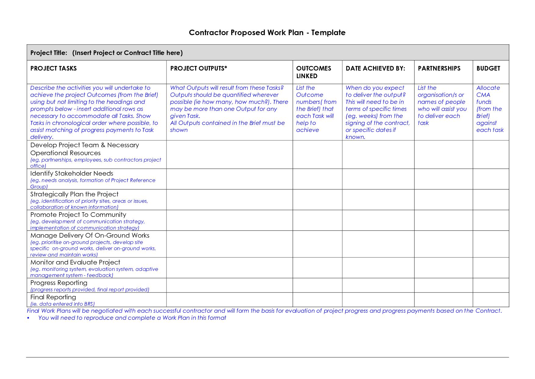 Work plan examples template vnzgames best ideas of microsoft