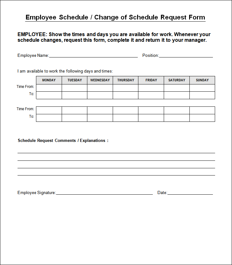 work schedule change request form template  u2013 printable schedule template