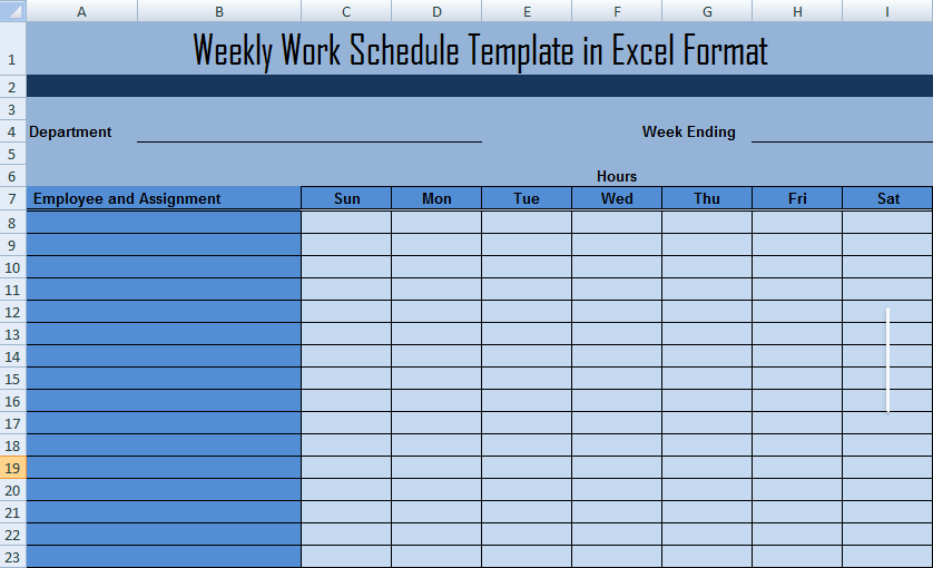 Weekly Work Schedule Template in Excel Format Microsoft Project