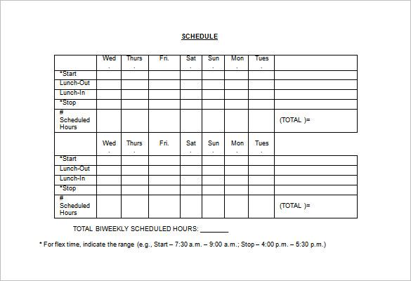 work schedule format Londa.britishcollege.co