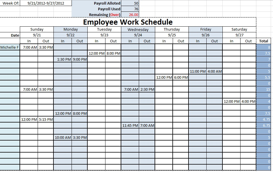 Employee work schedule template monthly 20 hour week for weekly