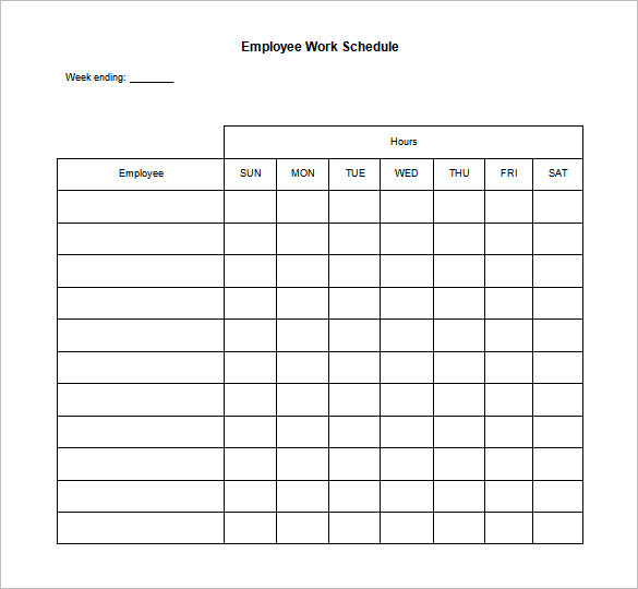 employee work schedule template blank work schedule template 17