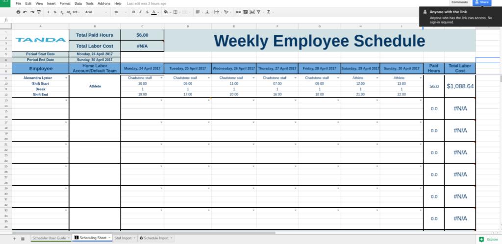 Work Schedule Template Google Docs | Business Plan Template