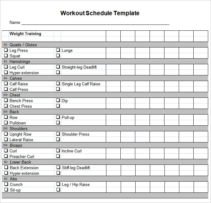 workout template workout schedule template 17 free word excel pdf
